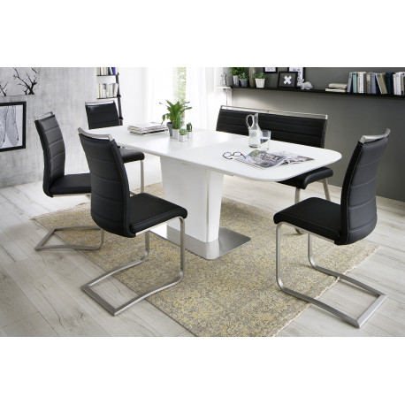 Abra white lacquered extendable dining table