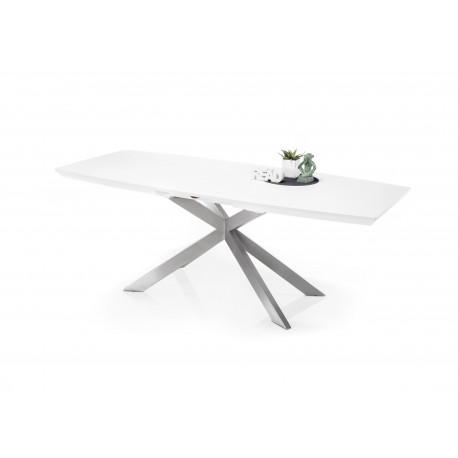 Steven white matt lacquered dining table