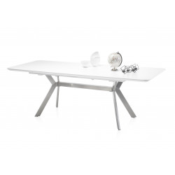 Roger 180(230cm) white matt lacquered dining table