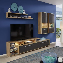 Cuba 272cm wall unit composition in rustic oak and grey gloss