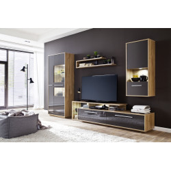 Cuba 307cm wall unit composition in rustic oak and grey gloss