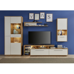 Cuba 307cm wall unit composition rustic oak and white gloss