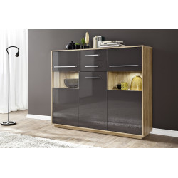 Cuba 150cm highboard in rustic oak and grey gloss