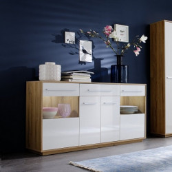 Cuba 170cm sideboard in rustic oak and white gloss