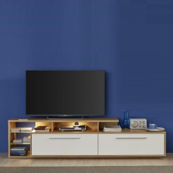 Cuba 212cm TV unit in rustic oak and white gloss