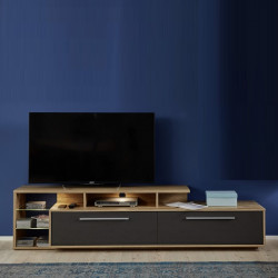Cuba 212cm TV unit in rustic oak and grey gloss