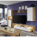 Score I wall unit composition in wotan oak and white gloss finish