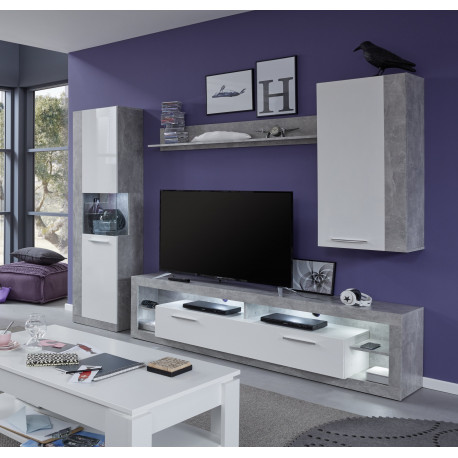 Score I wall unit composition in stone grey and white gloss finish