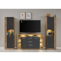 Score II wall unit composition in wotan oak and grey matera finish
