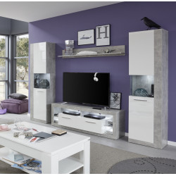 Score III wall unit composition in stone grey and white gloss finish
