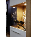 Score III wall unit composition in wotan oak and white gloss finish