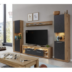 Score III wall unit composition in wotan oak and grey matera finish