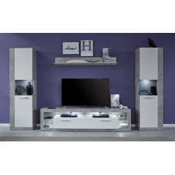 Score IV wall unit composition in stone grey and white gloss finish