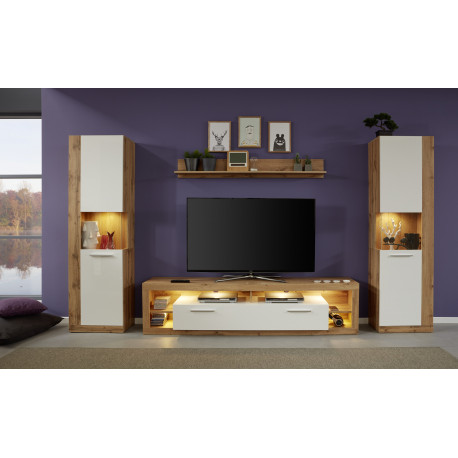 Score IV wall unit composition in wotan oak and white gloss finish