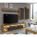 Score V wall unit composition in wotan oak and grey matera finish