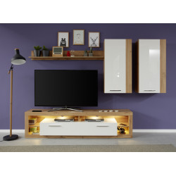 Score V wall unit composition in wotan oak and white gloss finish
