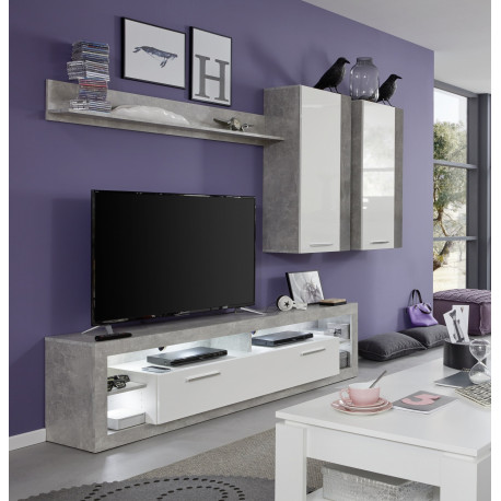 Score V wall unit composition in stone grey and white gloss finish