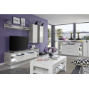 Score TV unit in stone grey and white gloss finish