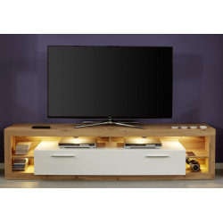 Score TV unit in wotan oak and white gloss finish