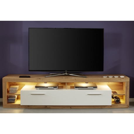 reputable site b83a7 4a57c Score TV unit in wotan oak and white gloss finish