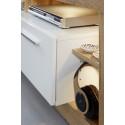Score TV unit in wotan oak and white gloss finish