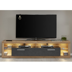 Score TV unit in wotan oak and grey matera finish