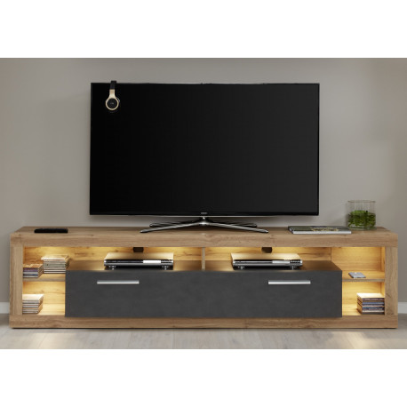 Score TV unit in wotan oak and grey matera finish
