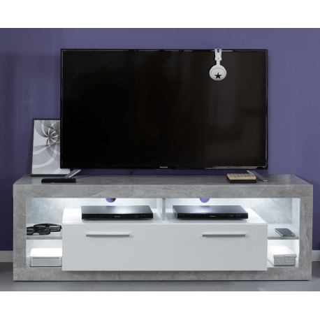 Score small TV unit in stone grey and white gloss finish