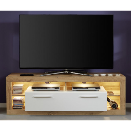 Score small TV unit in wotan oak and white gloss finish