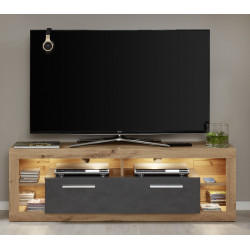 Score small TV unit in wotan oak and grey matera finish