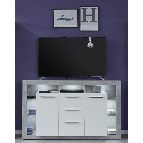 Score sideboard in stone grey and white gloss finish