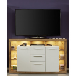 Score sideboard in wotan oak and white gloss finish