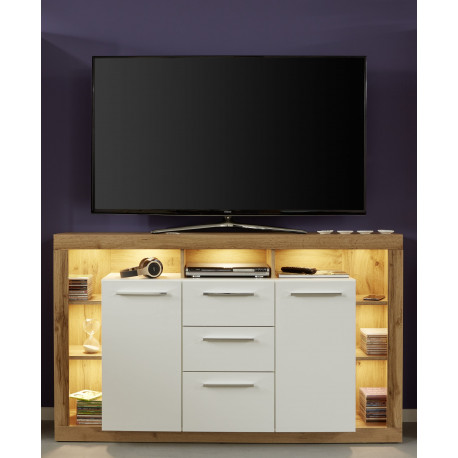 Score sideboard in wotan oak and white gloss finish