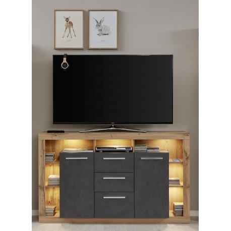 Score sideboard in wotan oak and grey matera finish