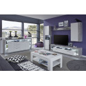 Score large sideboard in stone grey and white gloss finish