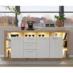 Score large sideboard in wotan oak and white gloss finish