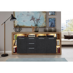 Score large sideboard in wotan oak and grey matera finish