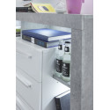 Score highboard in stone grey and white gloss finish