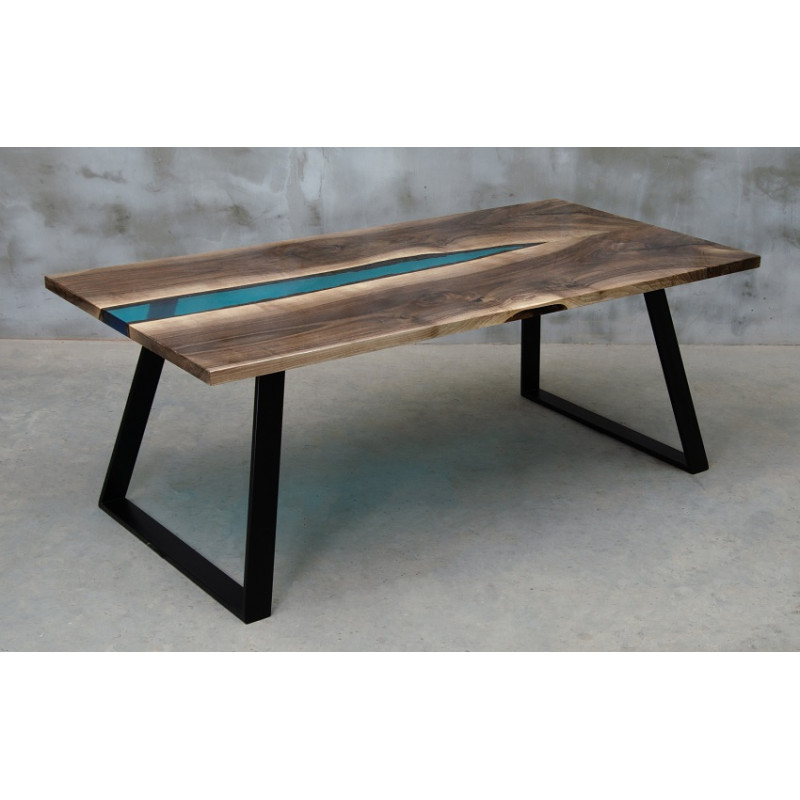 Aria river bespoke resin dining table in walnut finish ...