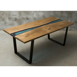 Aria river bespoke resin dining table in oak