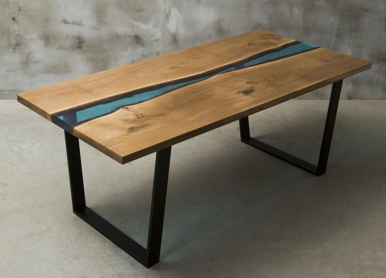 Aria river bespoke resin dining table in oak - Modern Wood ...