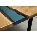 Aria river bespoke resin dining table in oak