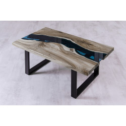 Aria II glass and wood coffee table