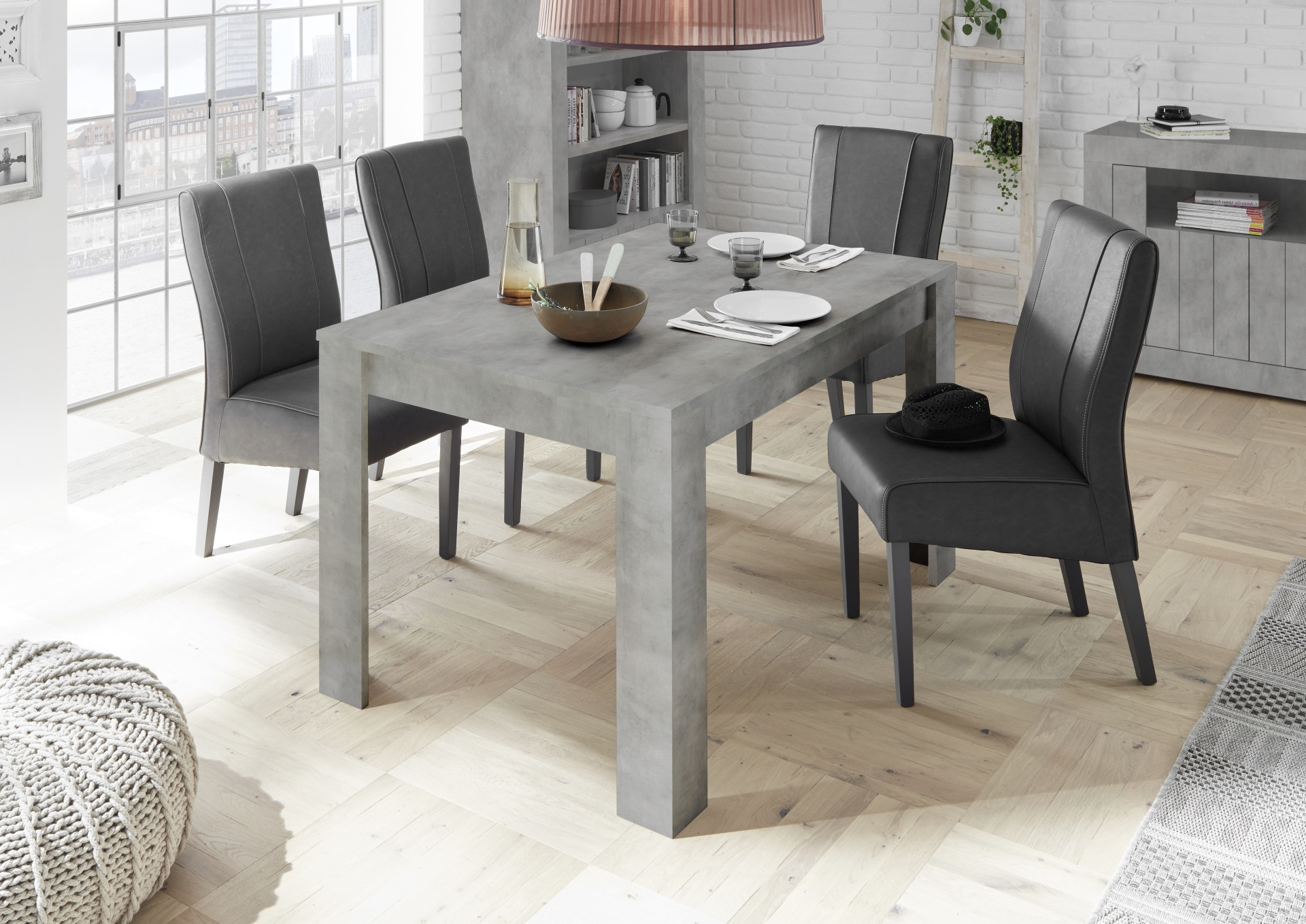 Picture of: Fiorano Extendable Dining Table In Beton Grey Finish Dining Tables 3680 Sena Home Furniture