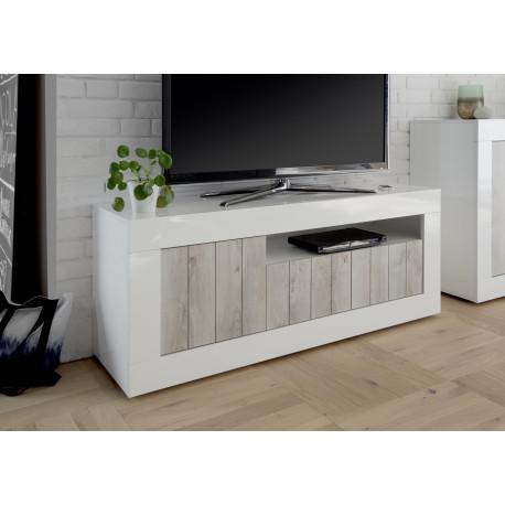 Fiorano 138cm TV unit in white gloss and pine oak
