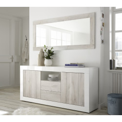 Fiorano 184cm sideboard in white gloss and pine oak