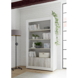 Fiorano bookshelf in white gloss and pine oak