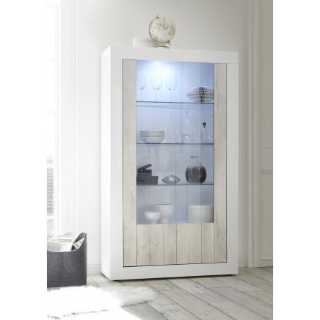 Fiorano display cabinet in white gloss and pine oak