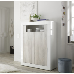 Fiorano 110cm highboard in white gloss and pine oak