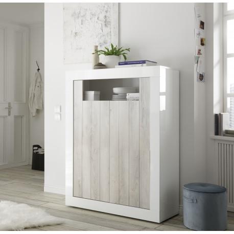 Fiorano 110cm highboard in white gloss and pine oak